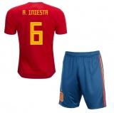 KIDS Home Jersey Spain 2018 Iniesta