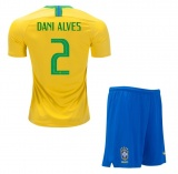 KIDS Home Jersey Brazil 2018 Dani Alves